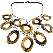 Abstract Lucite Amber/Black Slices on Two Tier Necklace with Crystals