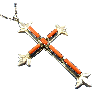 Large ZUNI G&L Leekity Sterling Silver & Coral Large Cross Pendant Necklace