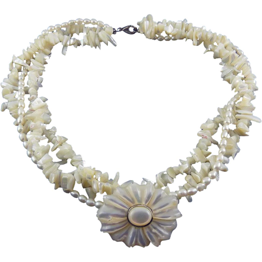 Pearls, Mother of Pearl & Sterling 3-Strand Torsade with Flower Pendant