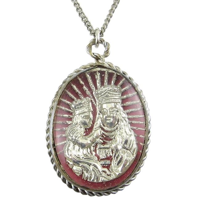 French 2-Sided Glass Pendant Necklace- Madonna & Child and Chartres Cathedral
