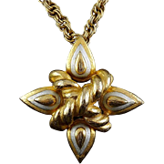 Grand Silver & Gold Finish Maltese Cross Brooch Pin/ Convertible Pendant Necklace