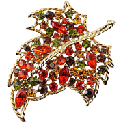1960's Large Maple Leaf Rhinestone Pin - Orange, Yellow Topaz & Olivine Green Stones