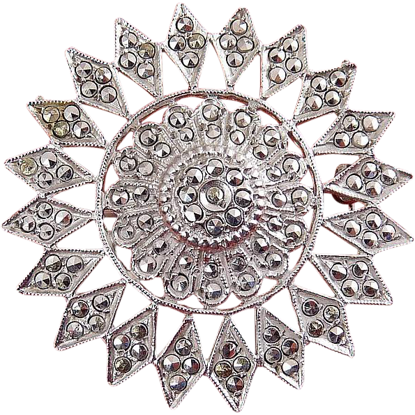 Vintage Sterling SIlver Sunflower Pin with Marcasites - Rhodium Plated