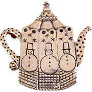 Mary Engelbriet Sterling Silver Teapot with Snowmen Pin, ME Ink