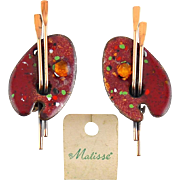 1950's MATISSE Renoir Red & Multi Enamel Artist Palette Earrings, Clip On
