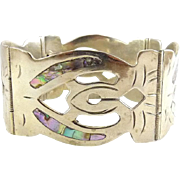 Mexican Wide Alpaca Silver & Abalone Inlay Pierced Panels Bracelet