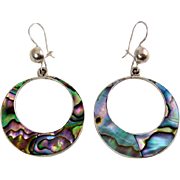 Vintage Mexican Sterling Silver & Ablaone Inlay Dangling Hoop Earrings - Pierced