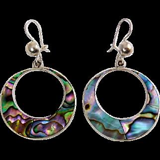 Vintage Mexican Sterling Silver & Ablaone Inlay Dangling Hoop Earrings - Pierced