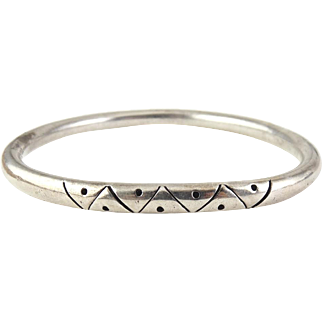 Mexican Sterling Silver Tubular Bangle with Zigzag Pierced Design