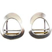 Mexican Sterling Silver & Brass Rounded Triangle Earrings with Bars, Modernist