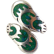 Vintage Mexican Sterling Silver & Turquoise Inlay Bypass Wrap Around Ring