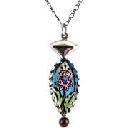 Jane Carpenter Millodot Sterling Silver & Reverse Painted Lucite Flower Pendant with Garnet