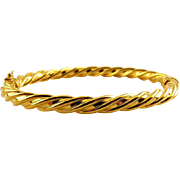 MILOR Gold-Plated Bronze Spiral Twist Hinged Bangle with Lock Bar