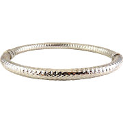MILOR Italy Sterling Silver Diamond Pattern Hinged Bangle Bracelet