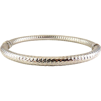 MILOR Italy Sterling Silver Diamond Hinged Bangle Bracelet