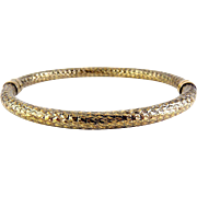 MILOR Italy Sterling Silver Bronze Finish, Diamond Pattern Hinged Bangle Bracelet