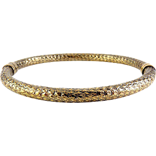 MILOR Italy Sterling Silver, Aged Bronze Finish Diamond Hinged Bangle Bracelet
