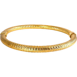 MILOR Italy Sterling Silver, Gold Vermeil Diamond-Cut Hinged Bangle Bracelet