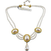 MONET Faux Pearl 2-Row Necklace with Framed Pearl Stations & Teardrop Pendant, Festoon Drapes