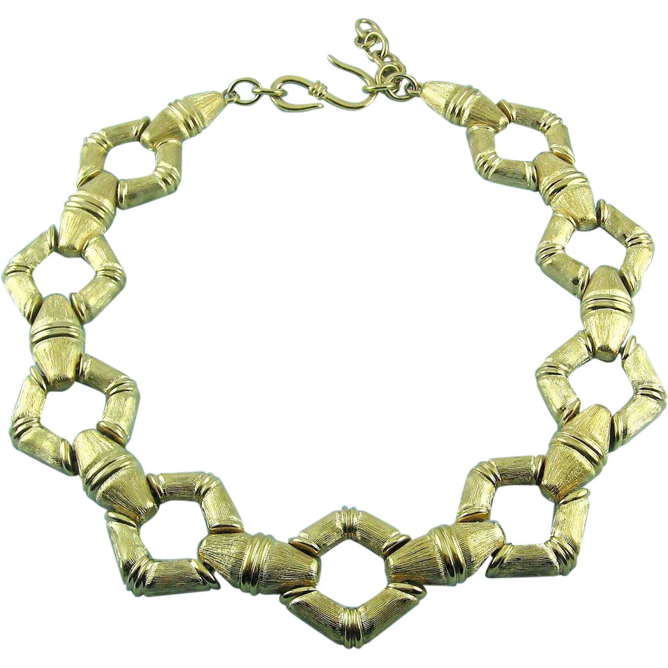 Major 1980's MONET Bamboo Style Wide Links Adj. Collar Necklace