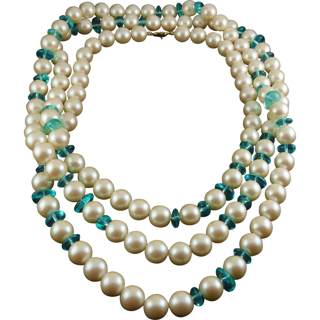 Monet Large Faux Pearls & Aqua Glass Beads 62 Inch Necklace