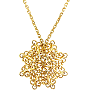1970's MONET Golden Curclicues Flower Pendant on Long Chain Necklace