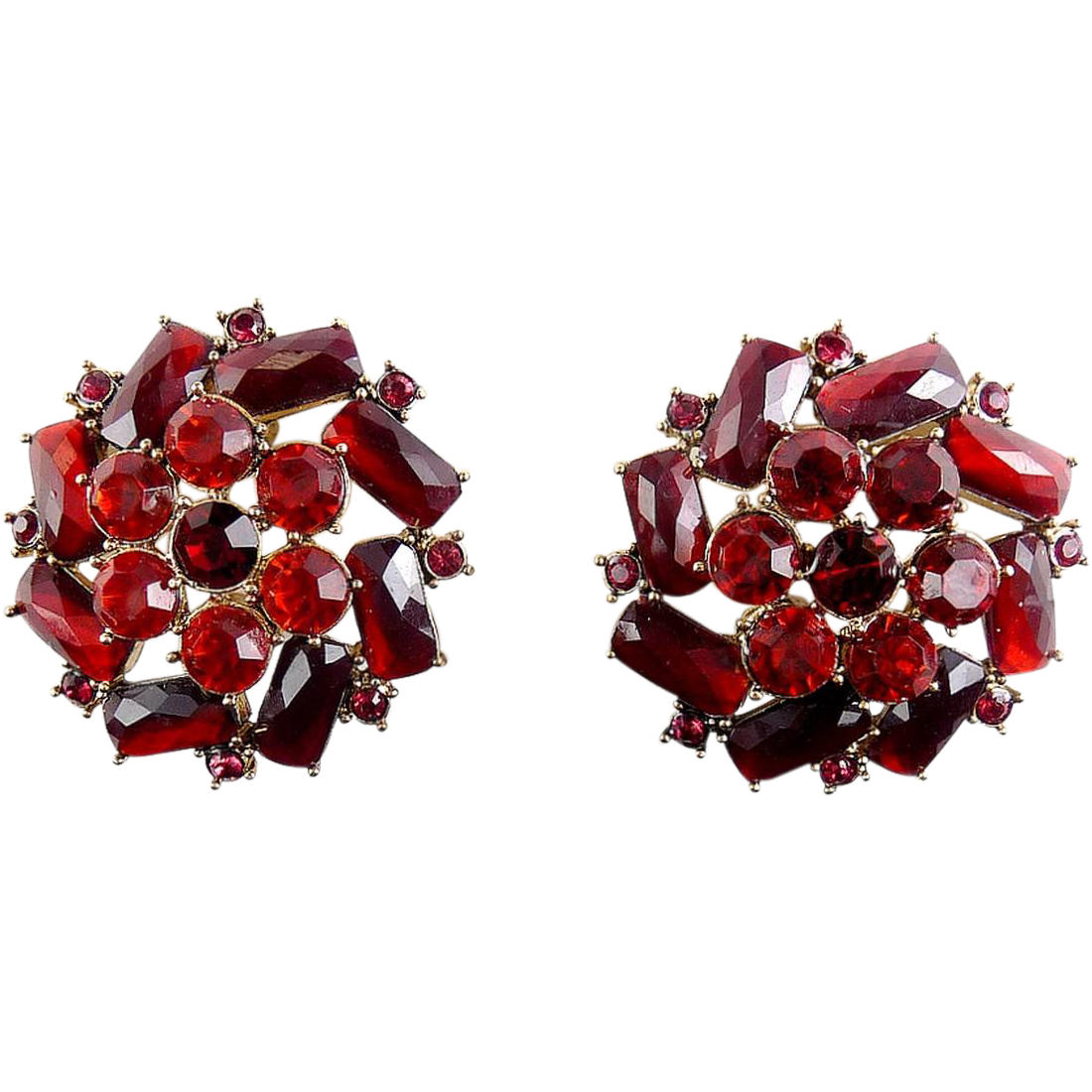 MONET Ruby Red Rhinestone Round Flower Earrings, Baguette & Round Stones, Clip On Style