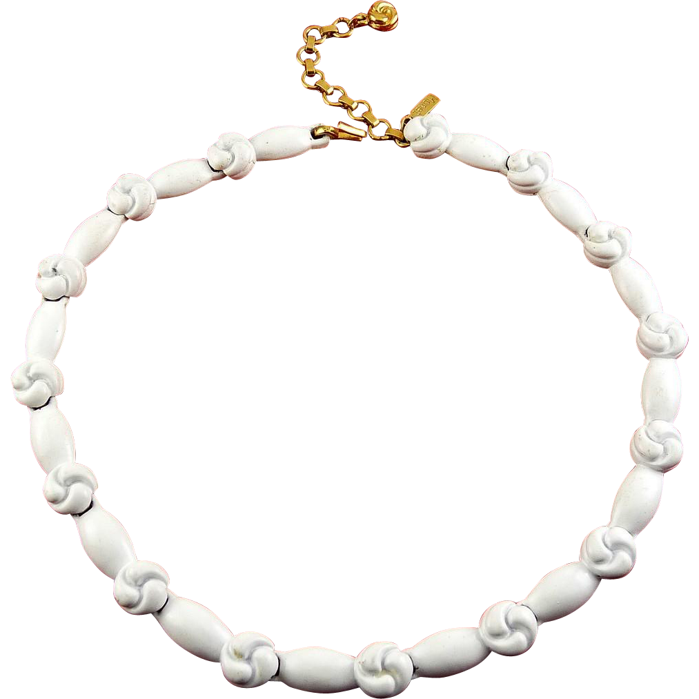 1970's White Enamel Knot Links Necklace - Adjustable Length