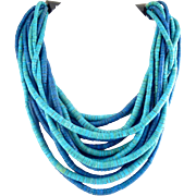 Gerda Lynggaard Monies Blue & Turquoise Coconut Shell Beads 14-Strand Necklace