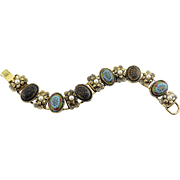 1960's Moroccan Matrix & Faux Pearls Victorian Style Bracelet