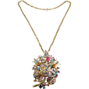 Large Multicolor Rhinestone Bouquet Pin / Pendant with Necklace Chain