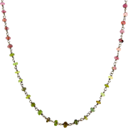 Sterling Silver & Tourmaline Faceted Beads Necklace-Shades of Blue, Pink and Green