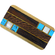 Native American Brass Money Clip with Turquoise, Mother of Pearl, and Wood Inlay - Signed