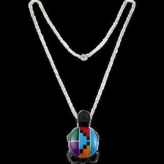 Native American Turtle Pendant -Mosaic Gemstones & Sterling Chain