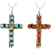 Native American Sterling Silver 2-Sided Cross Pendant- Coral & Turquoise