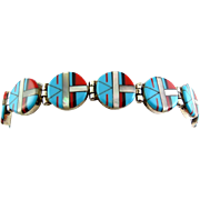 Native American Sterling Silver Bracelet with Sun Face Mosaic- Turquoise, Coral, Onyx, Mother of Pearl