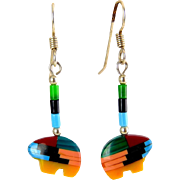 Native American Gem Mosaic Bear Fetish Earrings, Sterling Pierced Wires