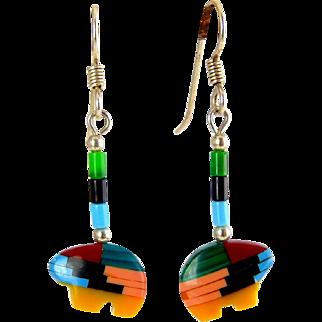 Native American Gem Mosaic Bear Fetish Earrings, Sterling Pierced Wires