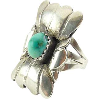 Sterling Silver Native American Rectangular Concho Ring with Turquoise Cabochon