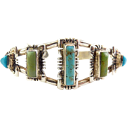 Native American Sterling Silver Cuff Bracelet with Turquoise & Green Turquoise, Signed QT