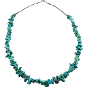 Native American Sterling Silver and Turquoise Nuggets with Matrix Beads, 20 Inches