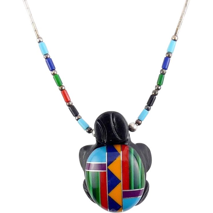 Native American Zuni Turtle Fetish Gemstone Inlay Mosaic