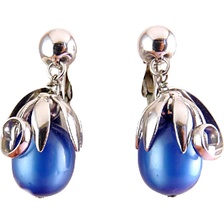 NAPIER Blue Moonglow Lucite Cumquat Drop Earrings