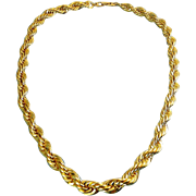 NAPIER 1980's Heavy Gold Plated Rope Chain Necklace