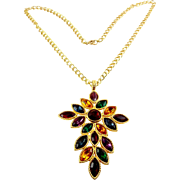 NAPIER 1991 Royalton Multicolor Crystal Pendant Necklace - Ruby, Topaz, Emerald, Amethyst, Sapphire