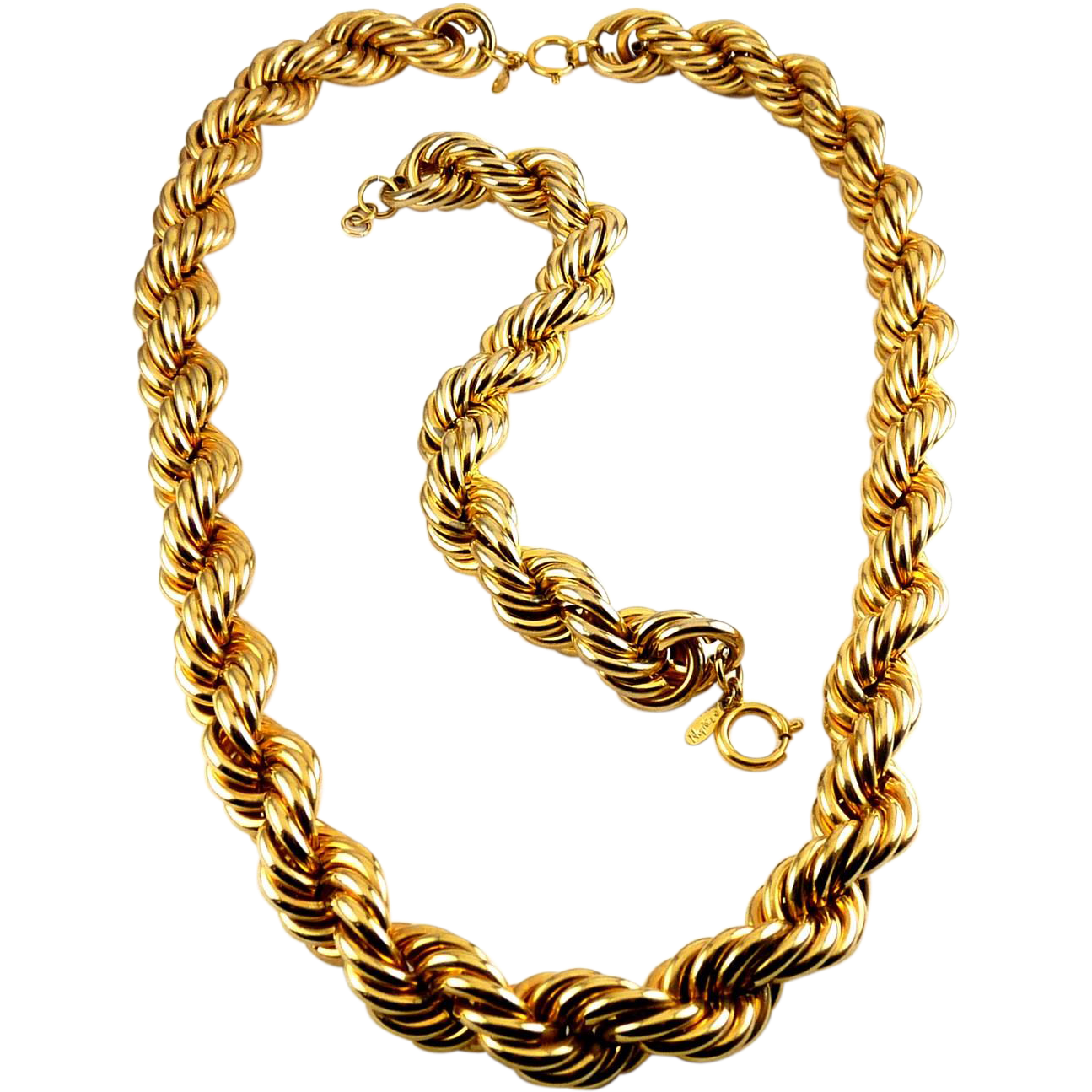 NAPIER Hefty Wide Twisted Cable Necklace & Bracelet Set - 1980s Power Look