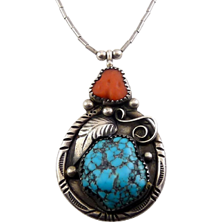 Vintage Navajo Sterling Silver, Turquoise, Coral Large Pendant with Feather, Heishi Beads Necklace