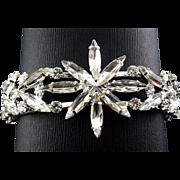 Brilliant Rhinestone Starburst Flower Clamper Bracelet - Navette Stones