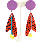 "Vintage 1980's New Wave, Memphis Style Boomerang Dangle Multicolor 4"" Earrings"