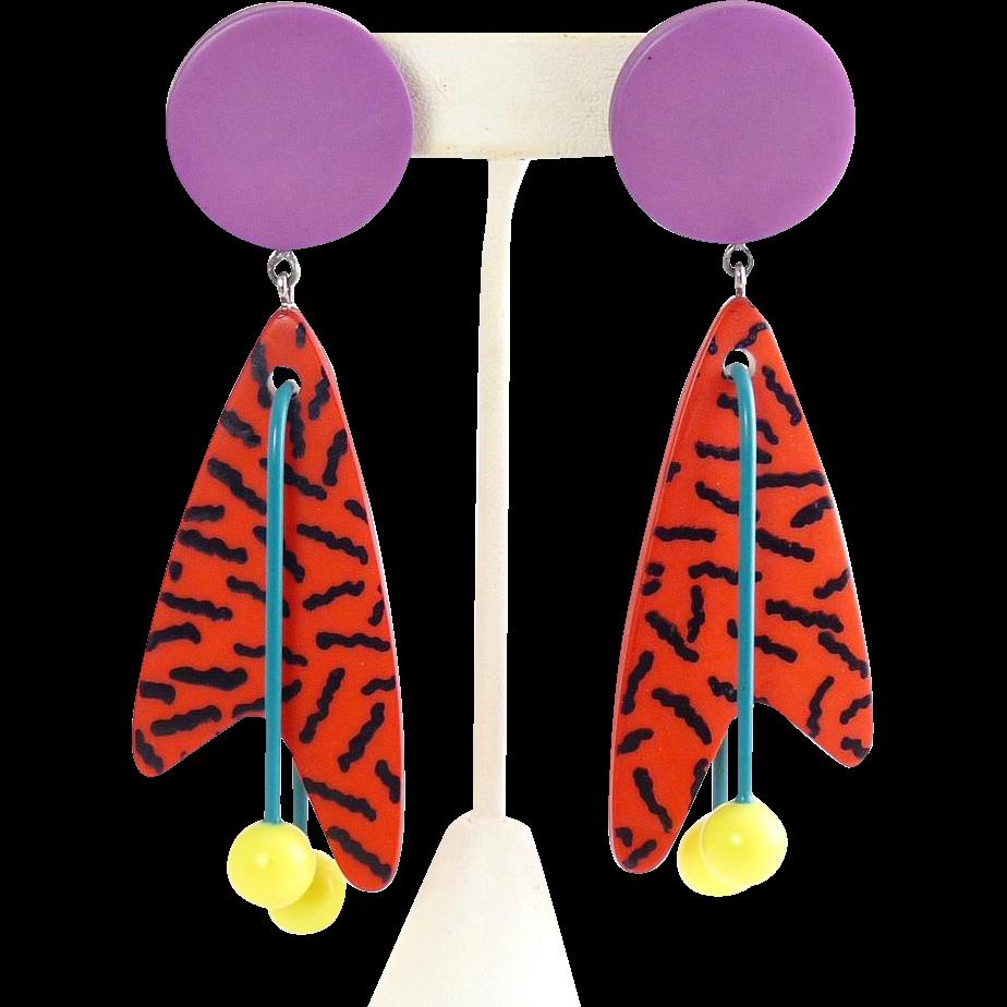 "Vintage 1980's New Wave, Memphis Style Boomerang Dangle Multicolor 4"" Earrings"